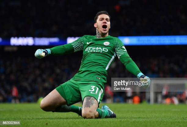 Ederson of Manchester City celebrates his sides second goal during the Premier League match between Manchester City and Southampton at Etihad Stadium...