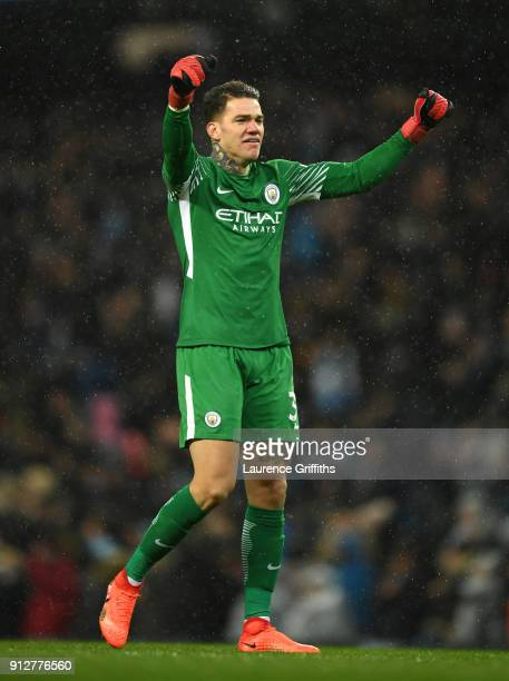 Ederson of Manchester City celebrates his sides third goal during the Premier League match between Manchester City and West Bromwich Albion at Etihad...