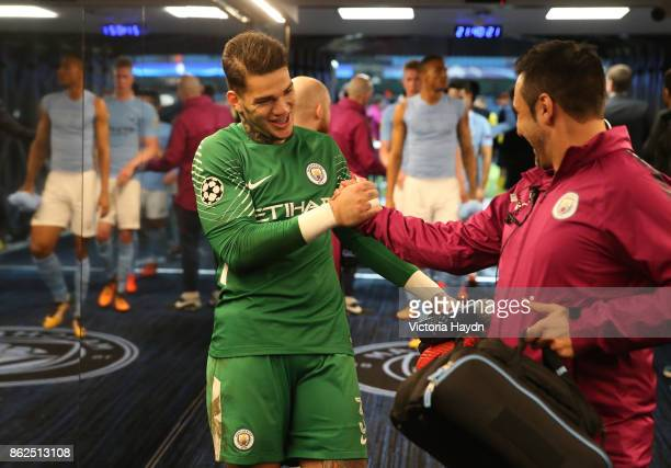 Ederson of Manchester City celebrates victory after the UEFA Champions League group F match between Manchester City and SSC Napoli at Etihad Stadium...