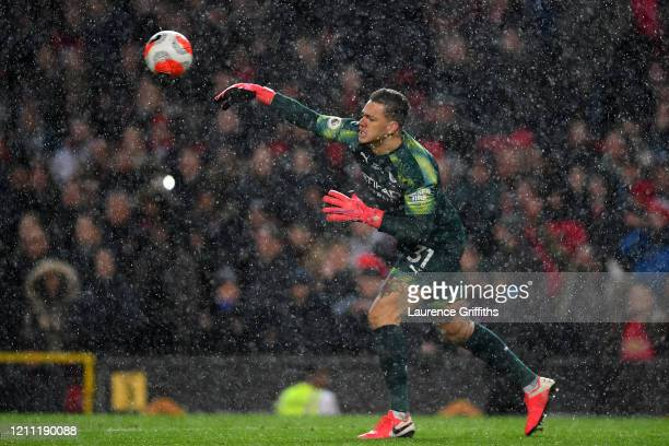 Ederson of Manchester City clears the ball which leads to Manchester United second goal during the Premier League match between Manchester United and...
