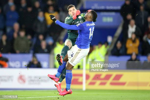 Ederson of Manchester City collides with Kelechi Iheanacho of Leicester City during the Premier League match between Leicester City and Manchester...