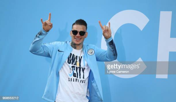 Ederson of Manchester City during the Manchester City Trophy Parade in Manchester city centre on May 14 2018 in Manchester England