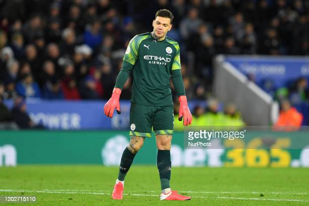 Ederson of Manchester City during the Premier League match between Leicester City and Manchester City at the King Power Stadium Leicester on Saturday...