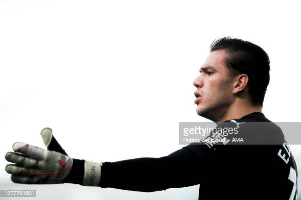 Ederson of Manchester City during the Premier League match between Manchester City and Norwich City at Etihad Stadium on July 26 2020 in Manchester...