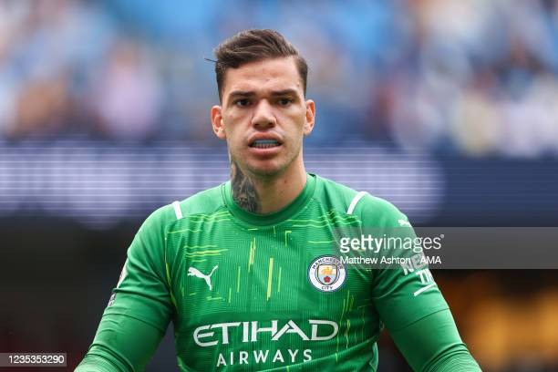Ederson of Manchester City during the Premier League match between Manchester City and Southampton at Etihad Stadium on September 18, 2021 in...