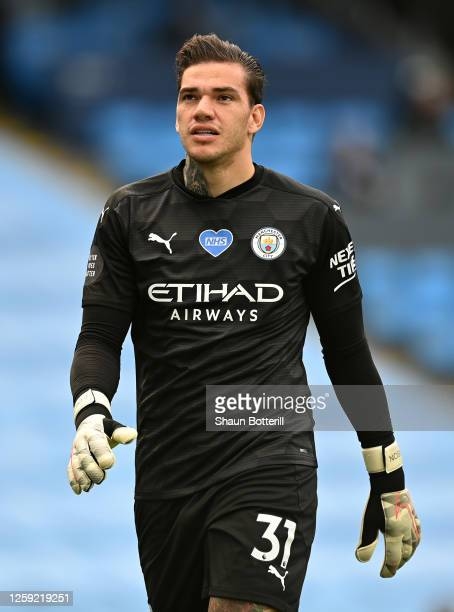Ederson of Manchester City during the Premier League match between Manchester City and Norwich City at Etihad Stadium on July 26, 2020 in Manchester,...