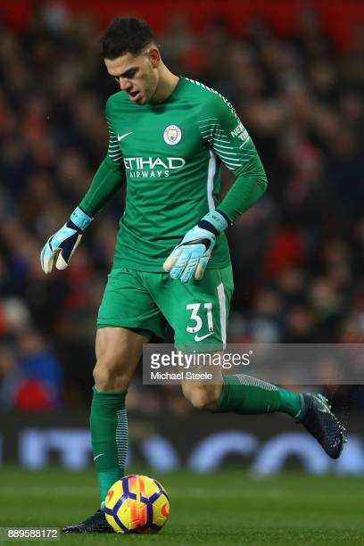 Ederson of Manchester City during the Premier League match between Manchester United and Manchester City at Old Trafford on December 10 2017 in...