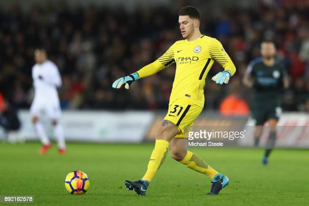 Ederson of Manchester City during the Premier League match between Swansea City and Manchester City at Liberty Stadium on December 13 2017 in Swansea...