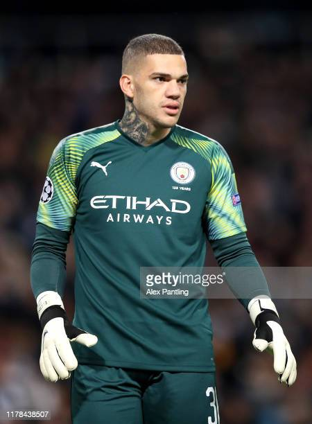 Ederson of Manchester City during the UEFA Champions League group C match between Manchester City and Dinamo Zagreb at Etihad Stadium on October 01...