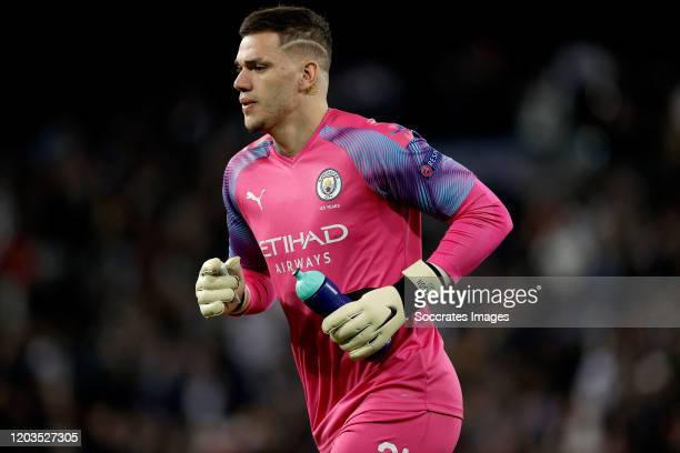 Ederson of Manchester City during the UEFA Champions League match between Real Madrid v Manchester City at the Santiago Bernabeu on February 26 2020...