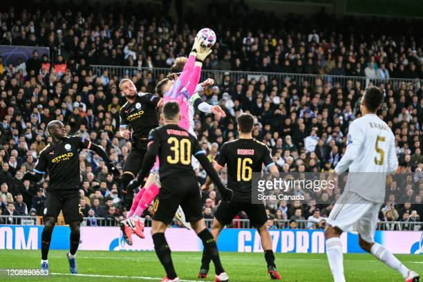 Ederson of Manchester City during the UEFA Champions League round of 16 first leg match between Real Madrid and Manchester City at Bernabeu on...