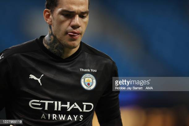Ederson of Manchester City during the UEFA Champions League round of 16 second leg match between Manchester City and Real Madrid at Etihad Stadium on...