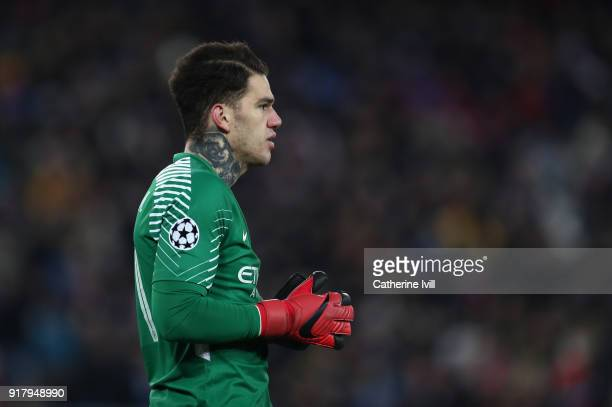 Ederson of Manchester City during the UEFA Champions League Round of 16 First Leg match between FC Basel and Manchester City at St JakobPark on...