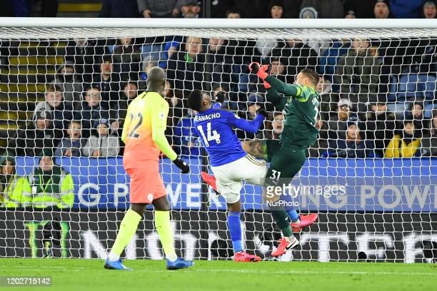 Ederson of Manchester City fouls Kelechi Iheanacho of Leicester City during the Premier League match between Leicester City and Manchester City at...