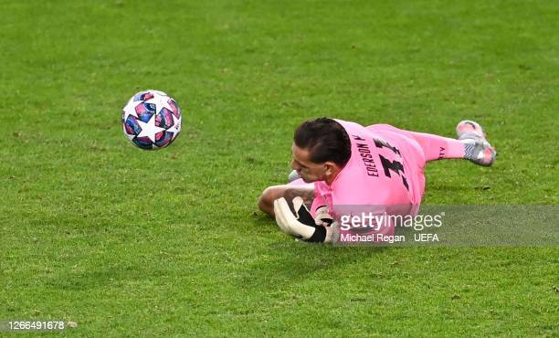Ederson of Manchester City fumbles the ball before conceding a third goal during the UEFA Champions League Quarter Final match between Manchester...