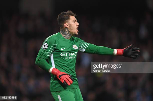 Ederson of Manchester City gives instruction during the UEFA Champions League group F match between Manchester City and SSC Napoli at Etihad Stadium...