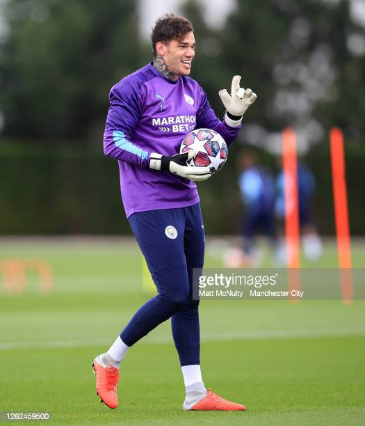 Ederson of Manchester City in action during a training session at Manchester City Football Academy on July 29 2020 in Manchester England