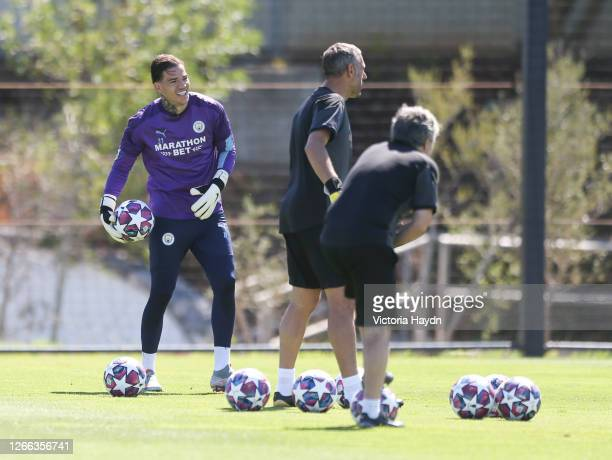 Ederson of Manchester City in action during a training session at Estadio Jose Alvalade on August 14 2020 in Lisbon Portugal