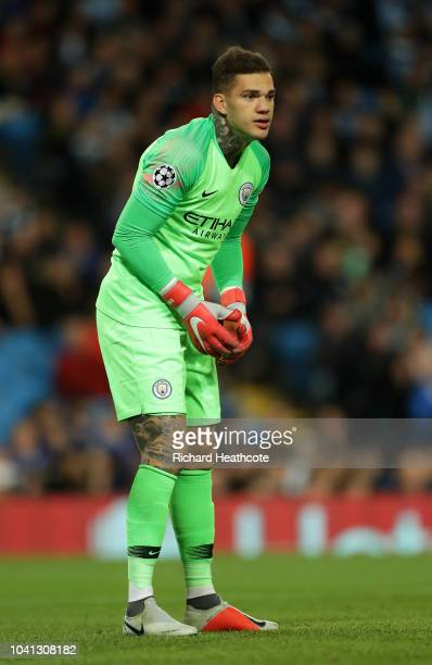 Ederson of Manchester City in action during the Group F match of the UEFA Champions League between Manchester City and Olympique Lyonnais at Etihad...