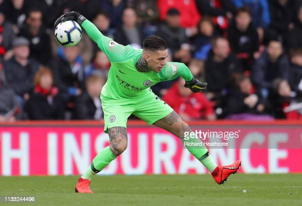 Ederson of Manchester City in action during the Premier League match between AFC Bournemouth and Manchester City at Vitality Stadium on March 02 2019...
