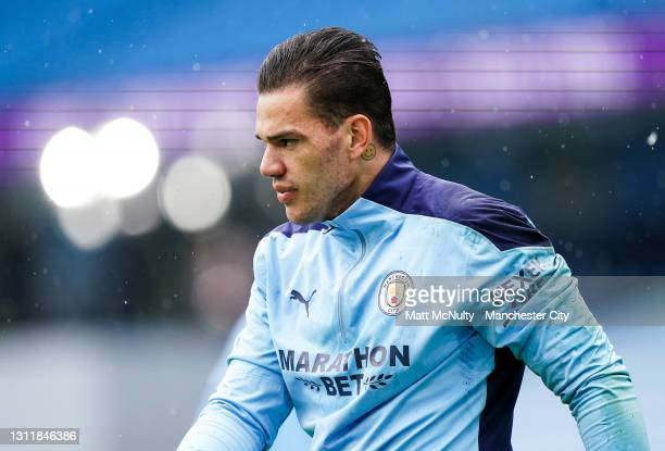 Ederson of Manchester City in action during the Premier League match between Manchester City and Leeds United at Etihad Stadium on April 10, 2021 in...