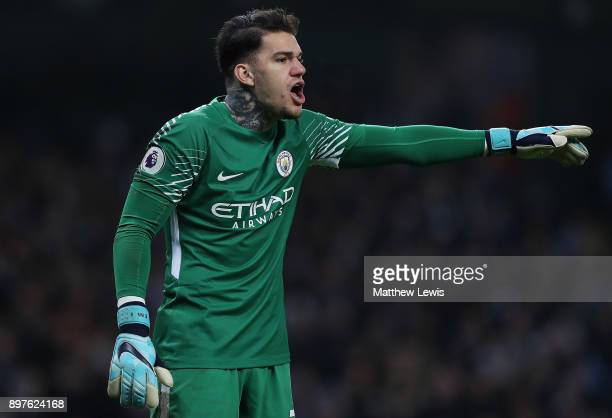 Ederson of Manchester City in action during the Premier League match between Manchester City and AFC Bournemouth at Etihad Stadium on December 23...