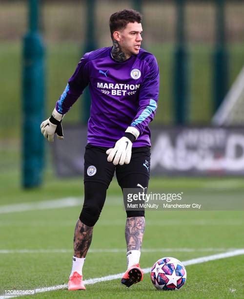 Ederson of Manchester City in action during the training session at Manchester City Football Academy on February 24 2020 in Manchester England