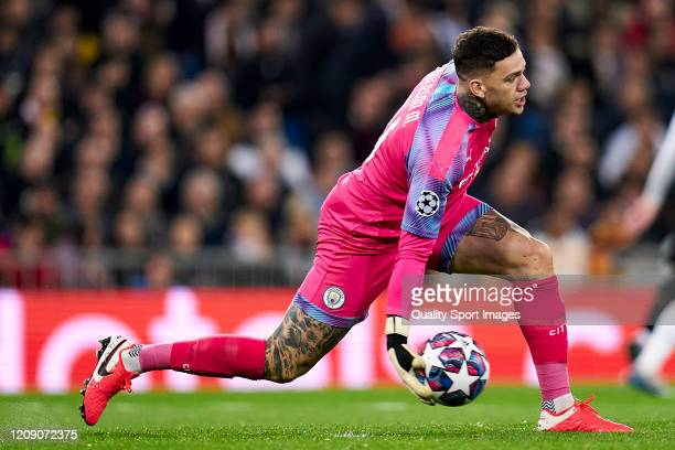 Ederson of Manchester City in action during the UEFA Champions League round of 16 first leg match between Real Madrid and Manchester City at Bernabeu...