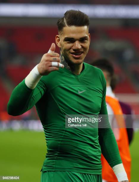 Ederson of Manchester City is all smiles after the Premier League match between Tottenham Hotspur and Manchester City at Wembley Stadium on April 14...