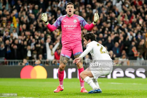 Ederson of Manchester City Isco of Real Madrid celebrates goal 10 during the UEFA Champions League match between Real Madrid v Manchester City at the...