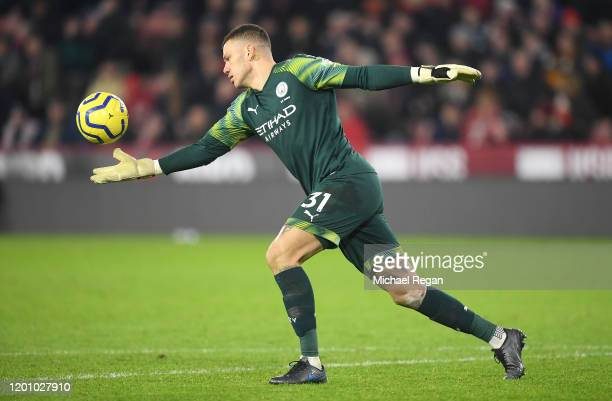 Ederson of Manchester City kicks the ball during the Premier League match between Sheffield United and Manchester City at Bramall Lane on January 21,...