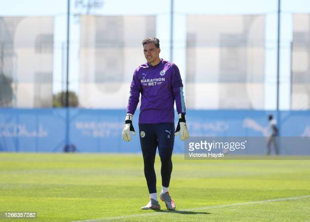 Ederson of Manchester City looks on during a training session at Estadio Jose Alvalade on August 14 2020 in Lisbon Portugal