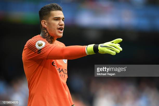 Ederson of Manchester City looks on during the Premier League match between Manchester City and Huddersfield Town at Etihad Stadium on August 19 2018...