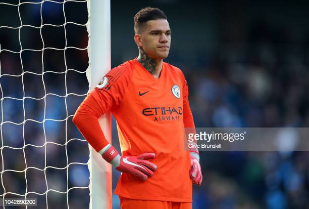 Ederson of Manchester City looks on during the Premier League match between Manchester City and Brighton Hove Albion at Etihad Stadium on September...