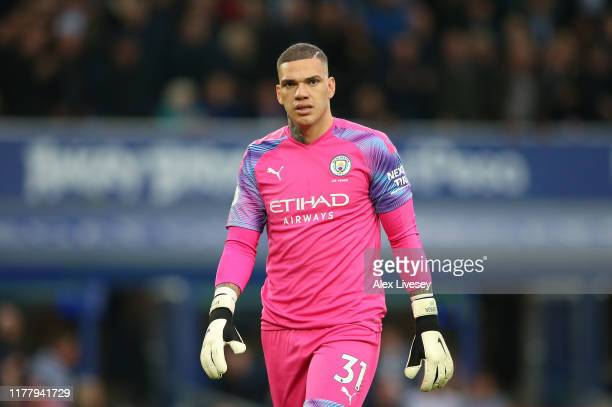 Ederson of Manchester City looks on during the Premier League match between Everton FC and Manchester City at Goodison Park on September 28 2019 in...