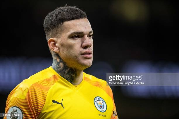 Ederson of Manchester City looks on during the Premier League match between Tottenham Hotspur and Manchester City at Tottenham Hotspur Stadium on...