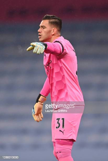 Ederson of Manchester City looks on during the Premier League match between Manchester City and Burnley at Etihad Stadium on November 28 2020 in...