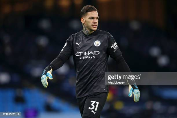 Ederson of Manchester City looks on during the Premier League match between Manchester City and Fulham at Etihad Stadium on December 05, 2020 in...