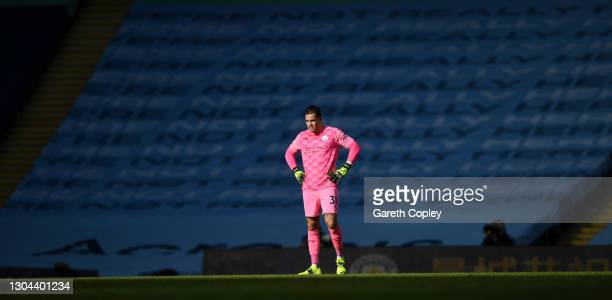Ederson of Manchester City looks on during the Premier League match between Manchester City and West Ham United at Etihad Stadium on February 27,...