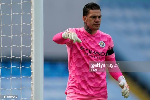 Ederson of Manchester City looks on during the Premier League match between Manchester City and Leeds United at Etihad Stadium on April 10, 2021 in...