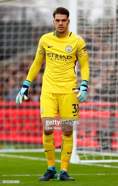 Ederson of Manchester City looks on during the Premier League match between Crystal Palace and Manchester City at Selhurst Park on December 31 2017...