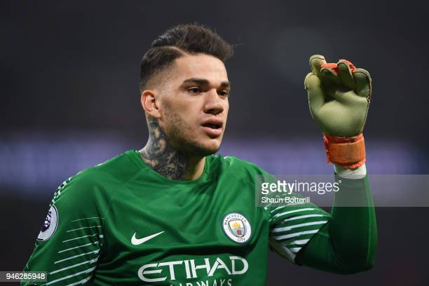 Ederson of Manchester City looks on during the Premier League match between Tottenham Hotspur and Manchester City at Wembley Stadium on April 14 2018...