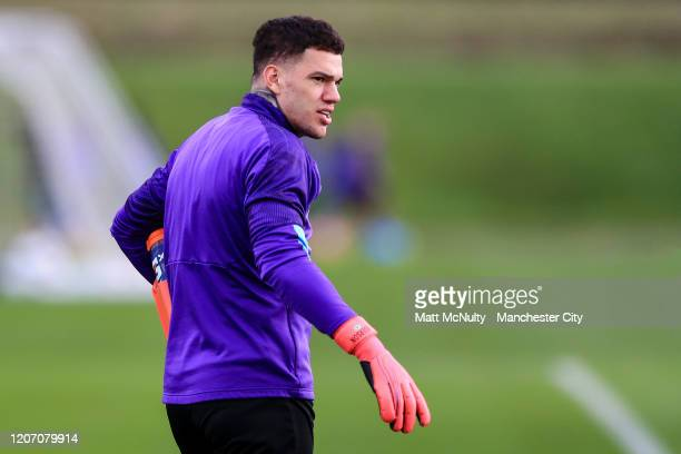 Ederson of Manchester City looks on during the training session at Manchester City Football Academy on February 18 2020 in Manchester England