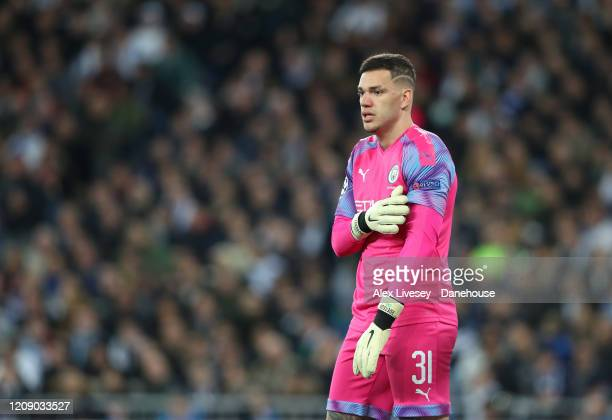 Ederson of Manchester City looks on during the UEFA Champions League round of 16 first leg match between Real Madrid and Manchester City at Bernabeu...