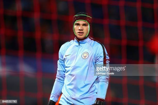 Ederson of Manchester City looks on prior to the UEFA Champions League group F match between Feyenoord and Manchester City at Feijenoord Stadion on...