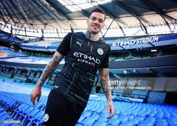 Ederson of Manchester City models the 2021-22 season away kit at the Etihad Stadium on July 29, 2021 in Manchester, England.