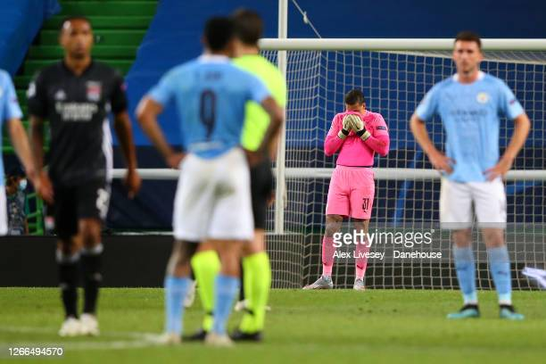Ederson of Manchester City reacts after conceding the third goal during the UEFA Champions League Quarter Final match between Manchester City and...