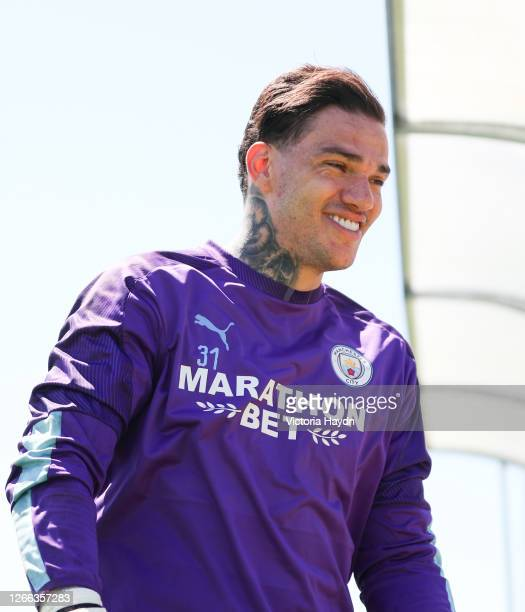 Ederson of Manchester City reacts during a training session at Estadio Jose Alvalade on August 14 2020 in Lisbon Portugal