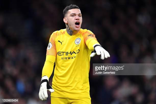 Ederson of Manchester City reacts during the Premier League match between Tottenham Hotspur and Manchester City at Tottenham Hotspur Stadium on...