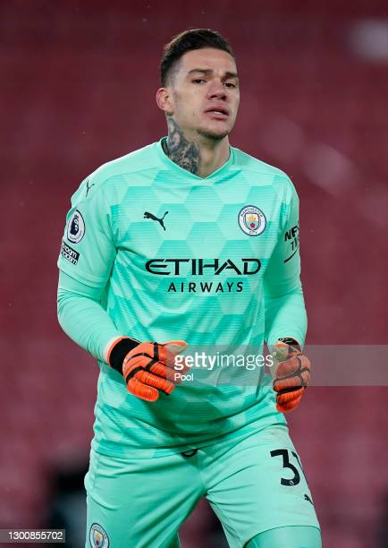 Ederson of Manchester City reacts during the Premier League match between Liverpool and Manchester City at Anfield on February 07, 2021 in Liverpool,...